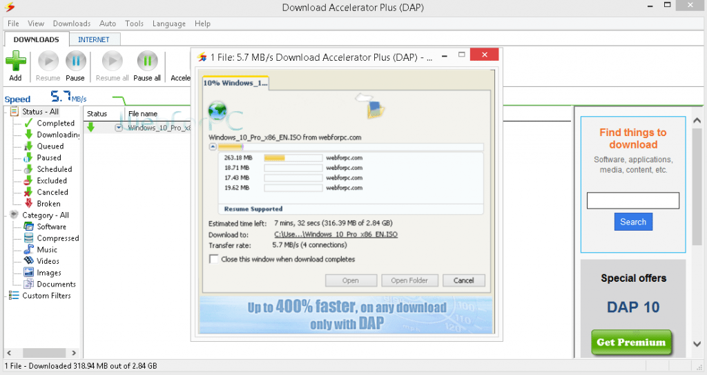 Download Accelerator Plus (DAP 10) Free Download