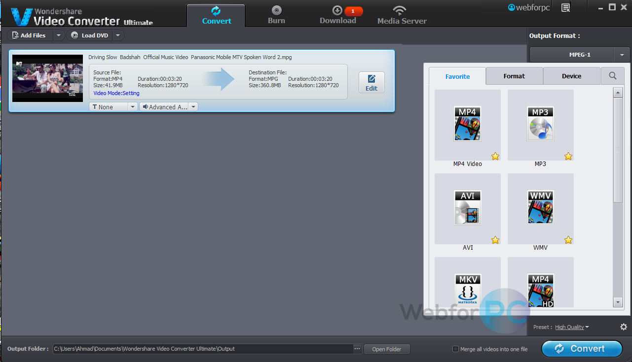 Wondershare Video Converter Ultimate Latest Setup - Web For PC