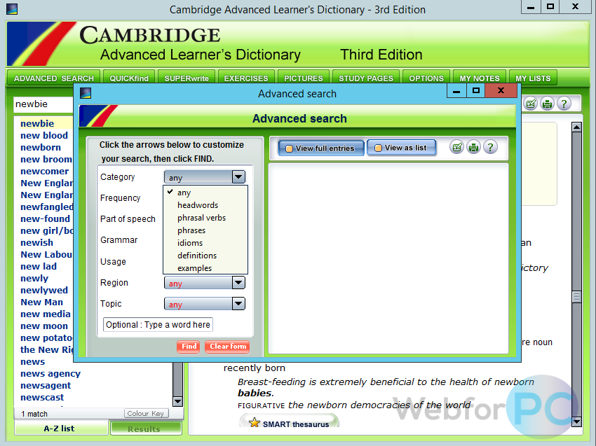 Cambridge Advanced Learner's Dictionary Download (Free) - WebForPC