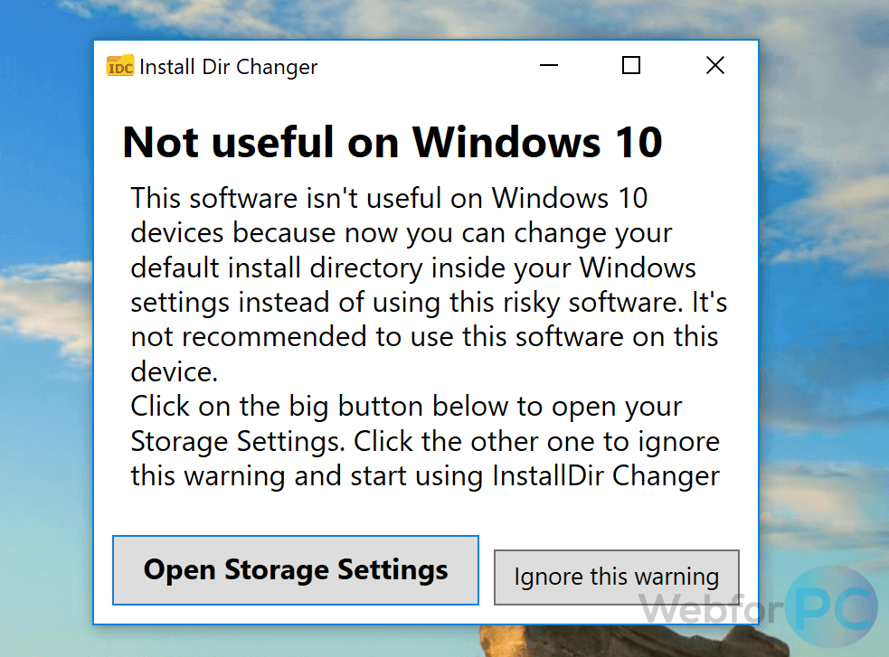 how to change the default install location in windows 10